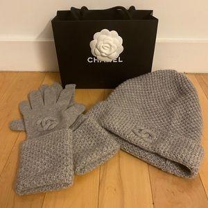 Chanel cashmere beanie hat and glove set